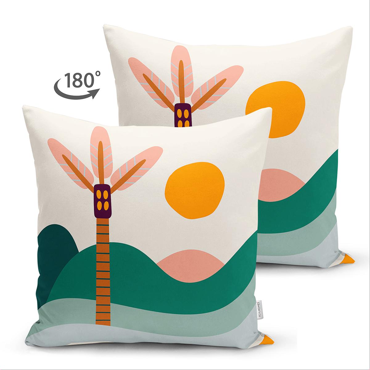 Çift Taraflı Renkli Zeminli Palmiye Desenli Dijital Baskılı Modern Süet Yastık Kırlent Kılıfı Realhomes