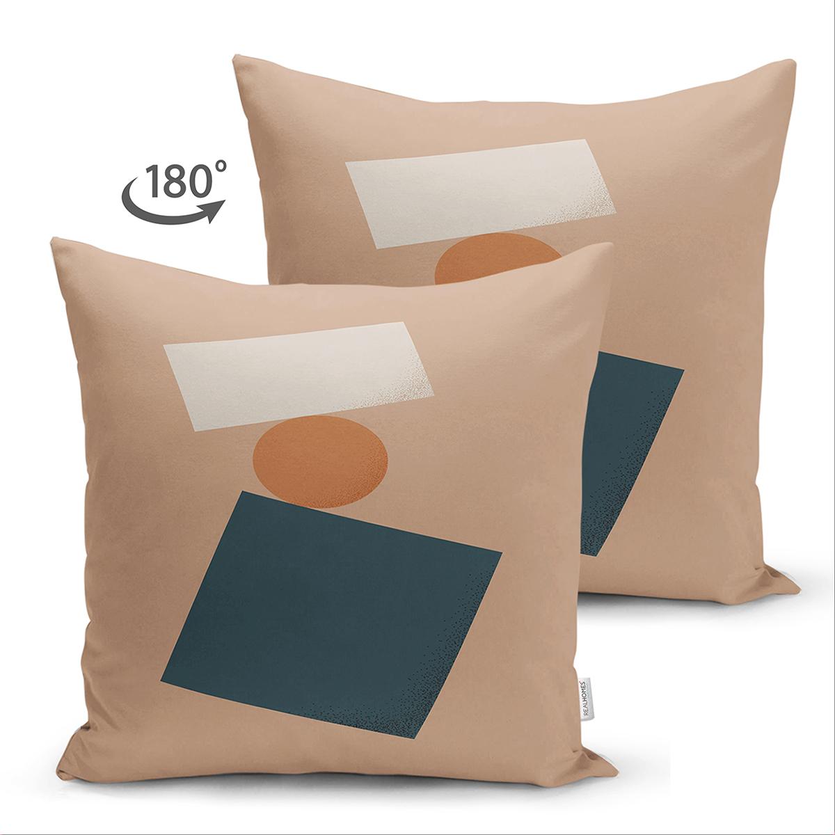 Çift Taraflı Renkli Zemimli One Draw Çizimli Geometrik Desen Modern Süet Yastık Kırlent Kılıfı Realhomes
