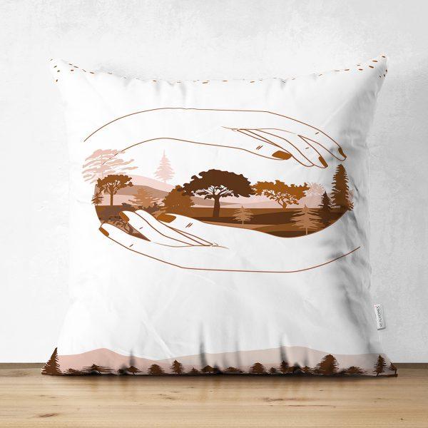Çift Taraflı Soft Renkli Yaprak Desenli Dijital Baskılı Modern Süet Yastık Kırlent Kılıfı Realhomes