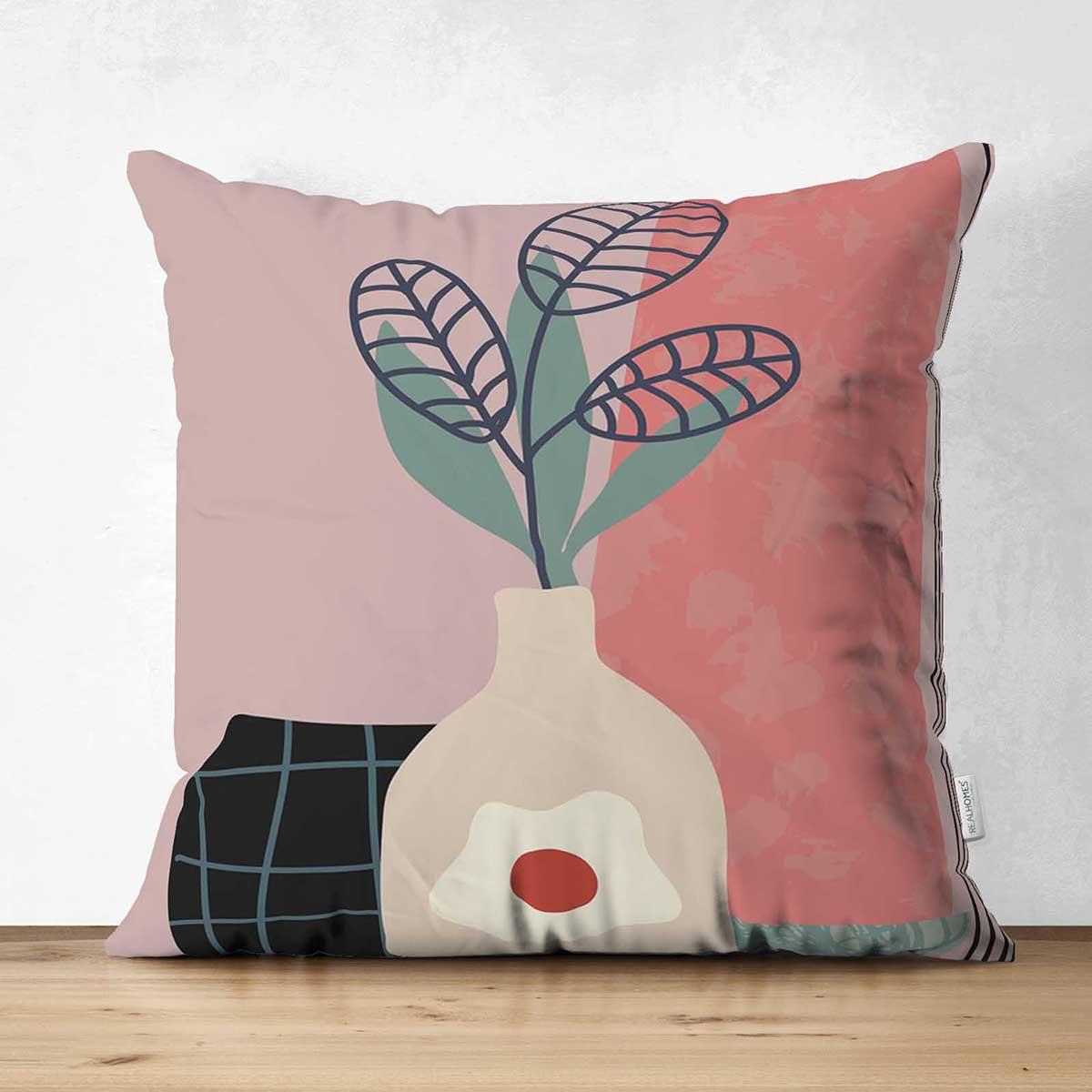 Çift Taraflı Renkli Zeminli Onedraw Çizimli Vazo Çiçek Süet Yastık Kırlent Kılıfı Realhomes