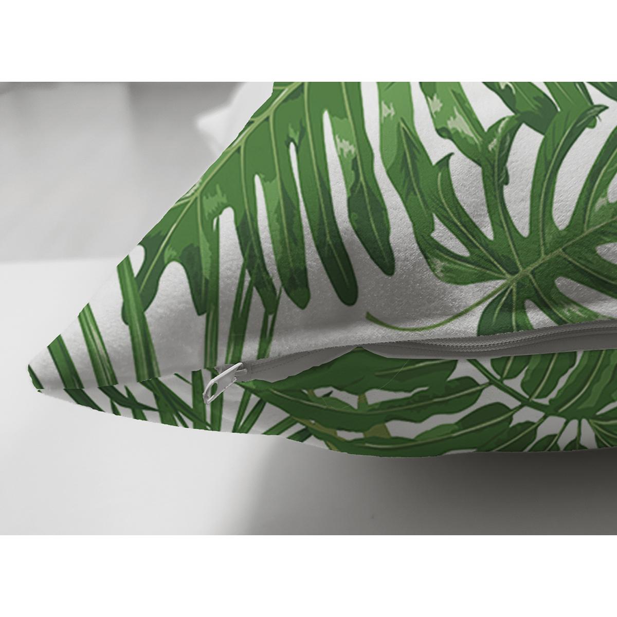 Çift Taraflı Beyaz Zemin Üzerinde Yeşil Yaprak Desenli Süet Yastık Kırlent Kılıfı Realhomes