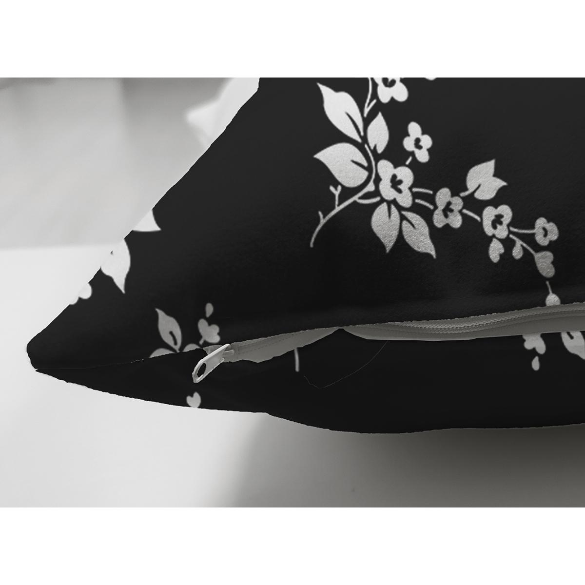 Çift Taraflı Siyah Zeminli Beyaz Çiçek Desenli Dijital Baskılı Modern Süet Yastık Kırlent Kılıfı Realhomes
