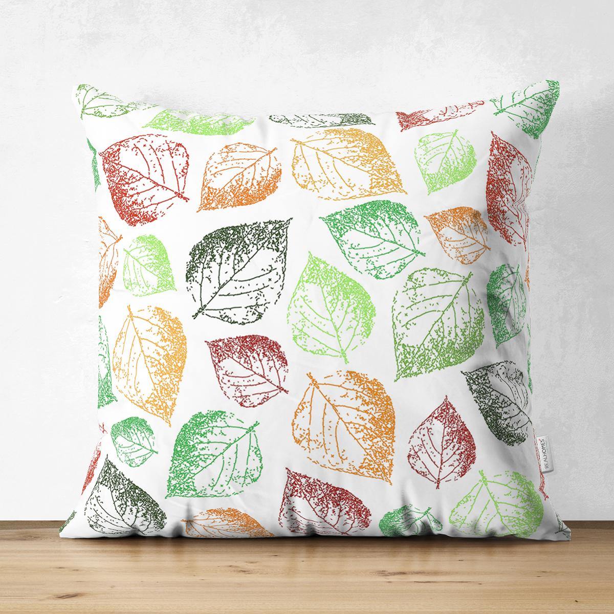 Çift Taraflı Beyaz Zemin Üzerinde Renkli Sonbahar Yaprak Desenli Süet Yastık Kırlent Kılıfı Realhomes