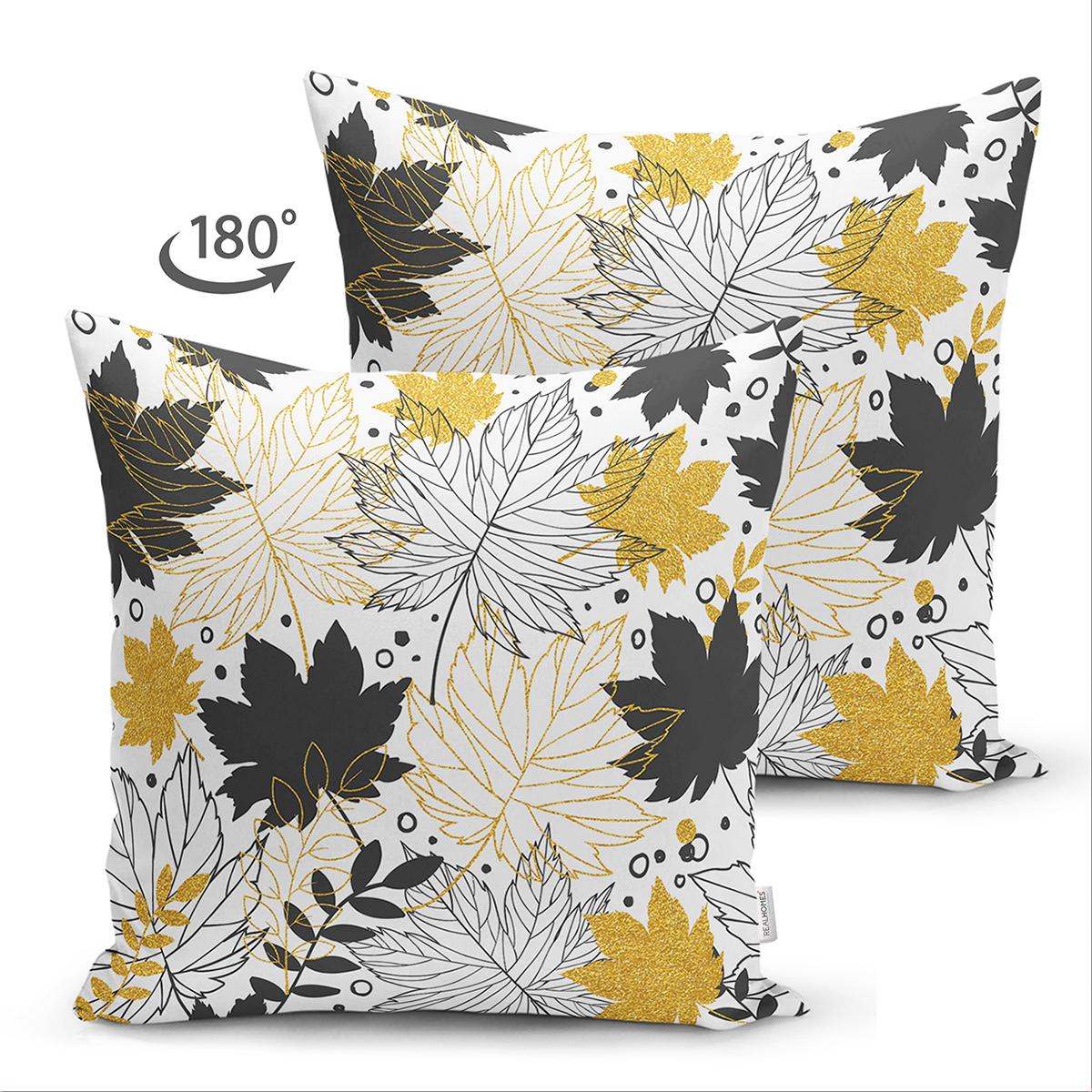 Çift Taraflı Beyaz Zemin Üzerinde Gold Detaylı Sonbahar Yaprak Desenli Süet Yastık Kırlent Kılıfı Realhomes