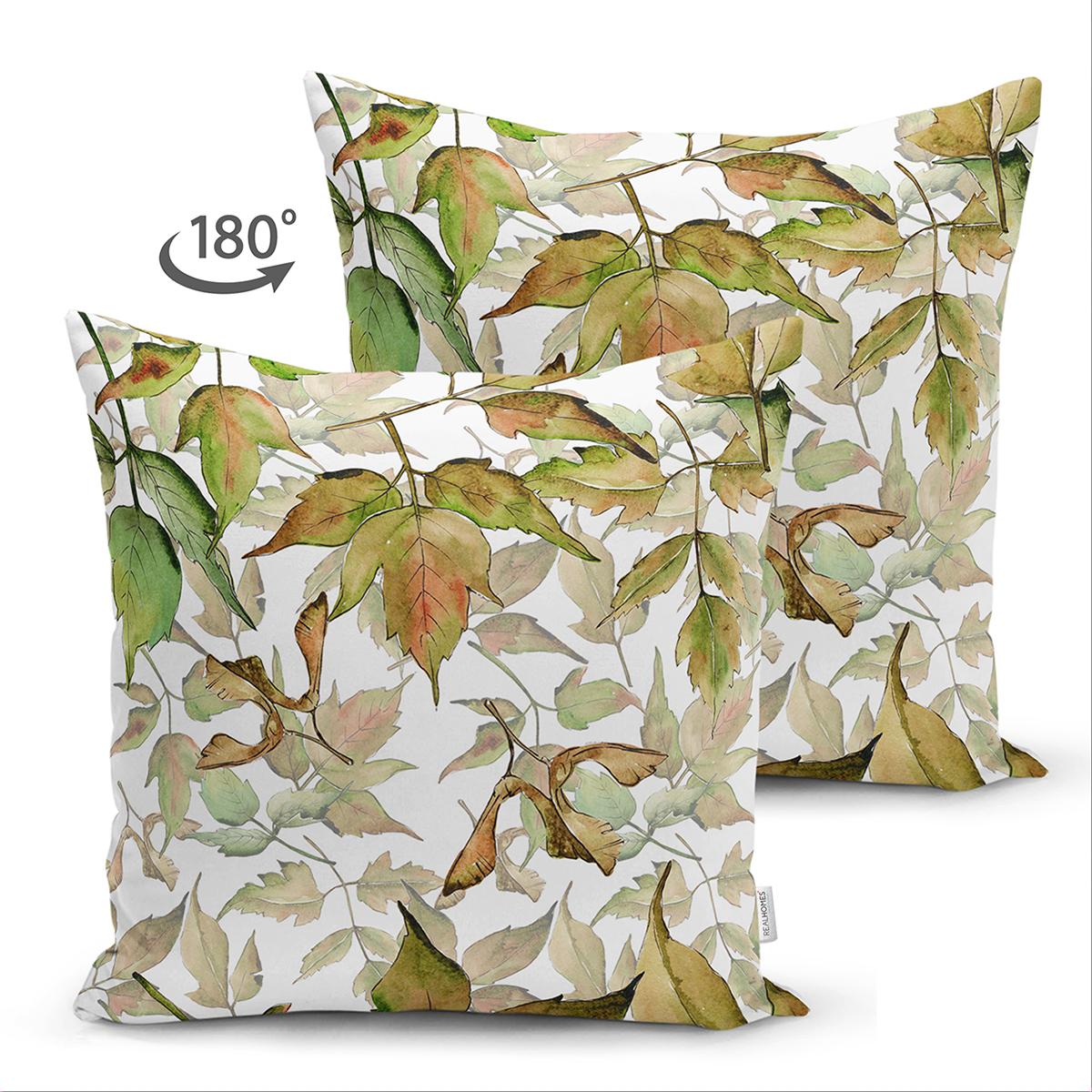 Çift Taraflı Beyaz Zeminli Sonbahar Yaprak Desenli Dijital Baskılı Modern Süet Yastık Kırlent Kılıfı Realhomes