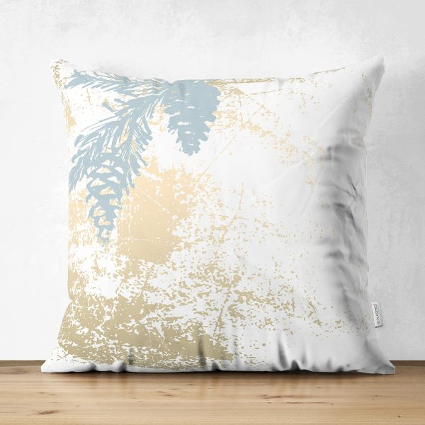 Çift Taraflı Beyaz Zemin Üzerinde Gold Detaylı Bal Kabağı Desenli Süet Yastık Kırlent Kılıfı Realhomes