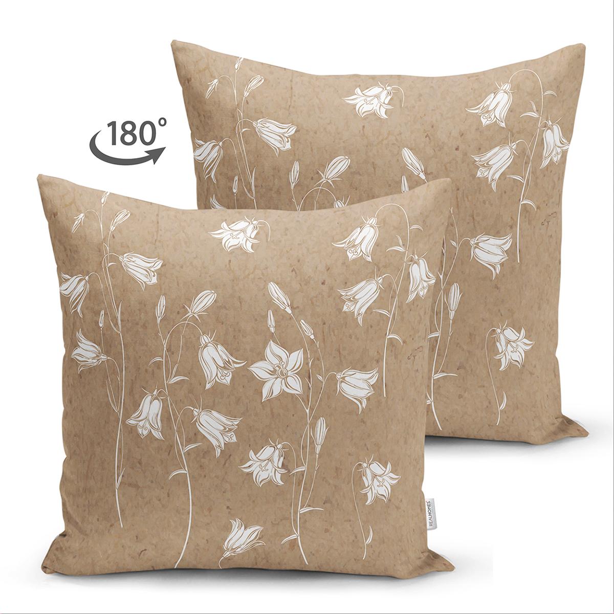 Çift Taraflı Renkli Zemin Üzerinde Beyaz Çiçek Desenli Süet Yastık Kırlent Kılıfı Realhomes