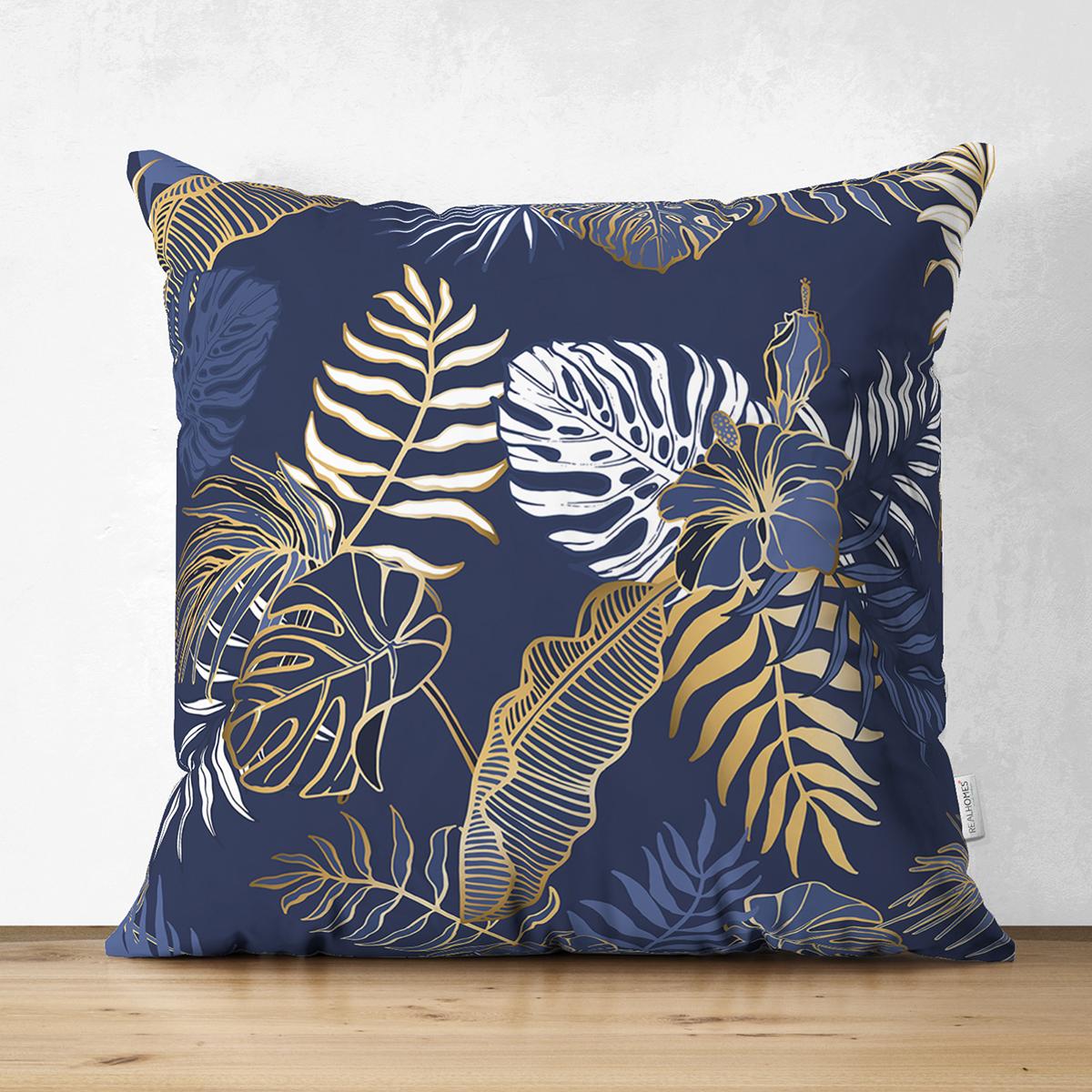 Çift Taraflı Mavi Zemin Üzerinde Gold Detaylı Yaprak Desenli Modern Süet Yastık Kırlent Kılıfı Realhomes