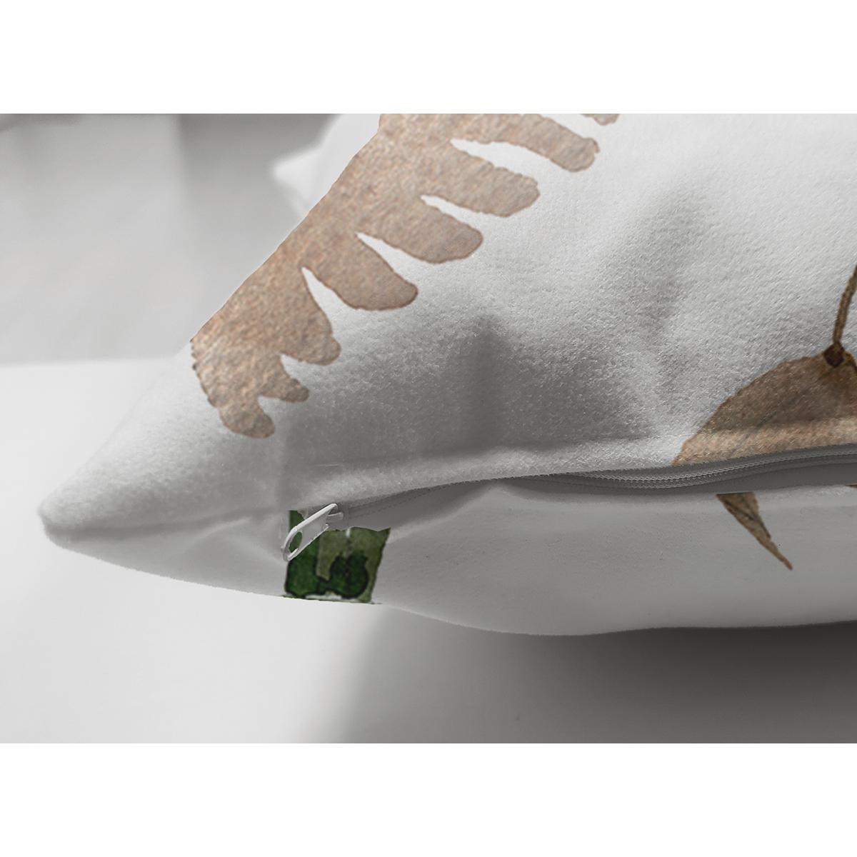 Çift Taraflı Beyaz Zemin Üzerinde Çiçek Desenli Dijital Baskılı Modern Süet Yastık Kırlent Kılıfı Realhomes