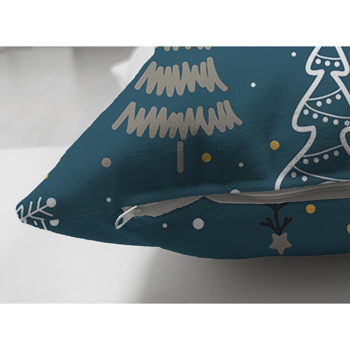 Çift Taraflı Pastel Zemin Üzerinde Renkli Çamağacı Desenli Dijital Baskılı Modern Süet Yastık Kılıfı Realhomes