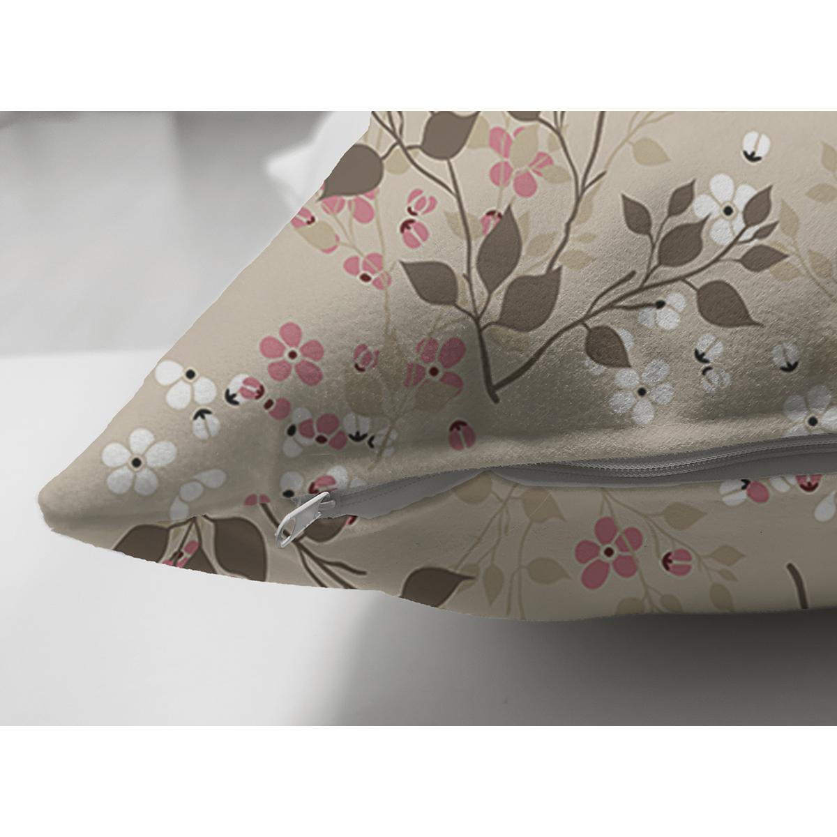 Çift Taraflı Pastel Zemin Üzerinde Çiçek Desenli Dijital Baskılı Modern Süet Yastık Kırlent Kılıfı Realhomes