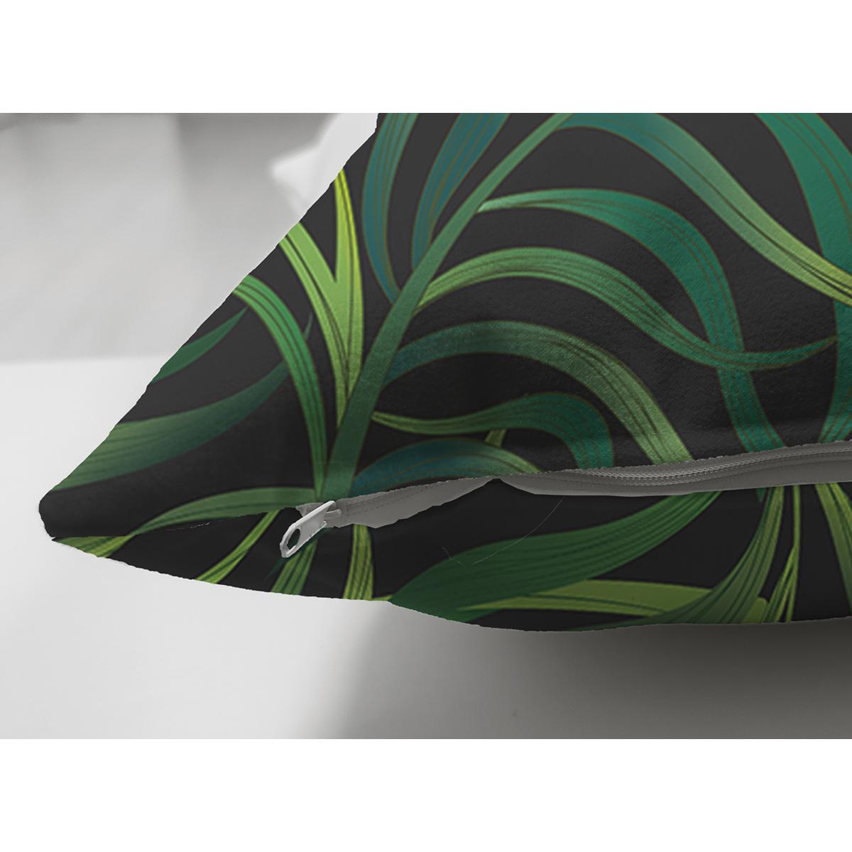 Çift Taraflı Siyah Zemin Üzerinde Yeşil Yaprak Desenli Süet Yastık Kırlent Kılıfı Realhomes