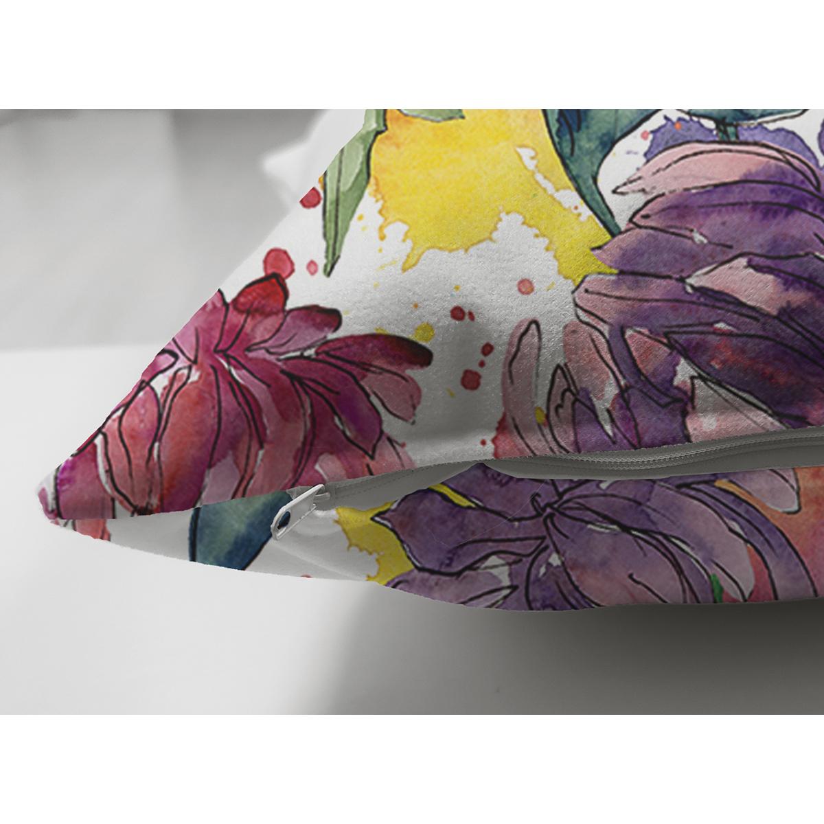 Çift Taraflı Beyaz Zemin Üzerinde Renkli Soyut Çizimli Çiçek Desenli Süet Yastık Kırlent Kılıfı Realhomes