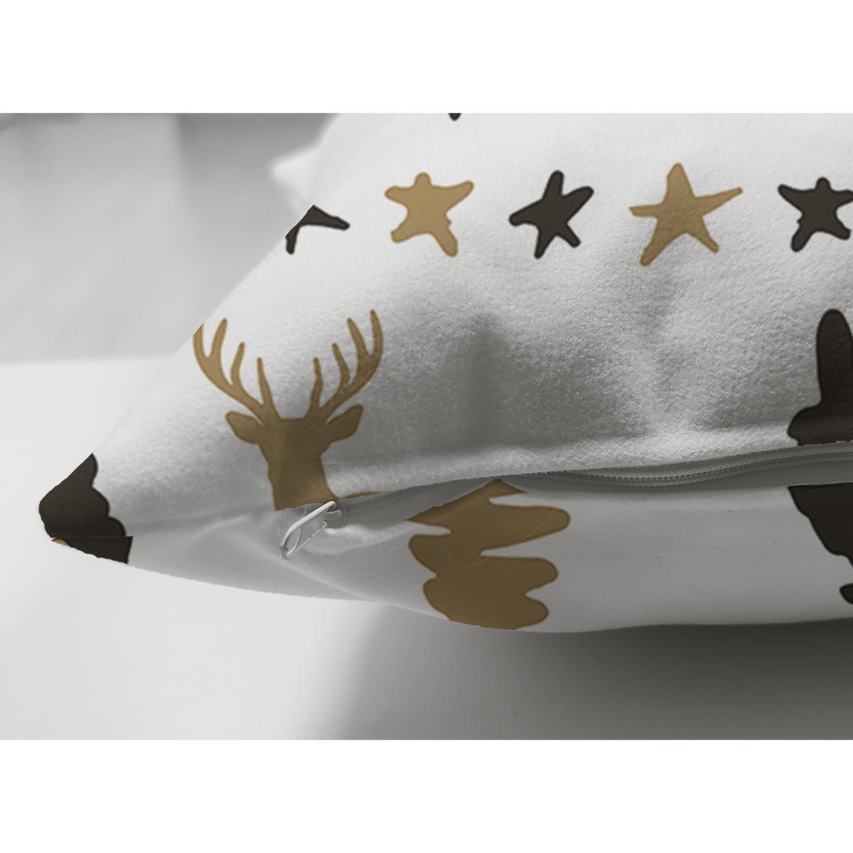 Çift Taraflı Beyaz Zemin Üzerinde Geyik Desenli Dijital Baskılı Modern Süet Yastık Kırlent Kılıfı Realhomes
