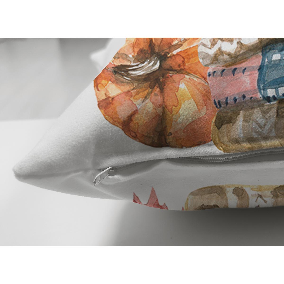 Çift Taraflı Beyaz Zemin Üzerinde Sonbahar Temalı Balkabağı Desenli Süet Yastık Kırlent Kılıfı Realhomes