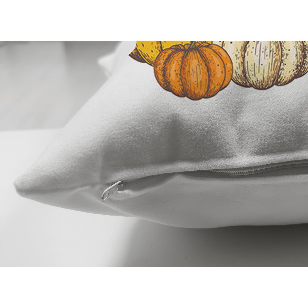 Çift Taraflı Beyaz Zemin Üzerinde Renkli Balkabağı Desenli Dijital Baskılı Modern Süet Yastık Kılıfı Realhomes