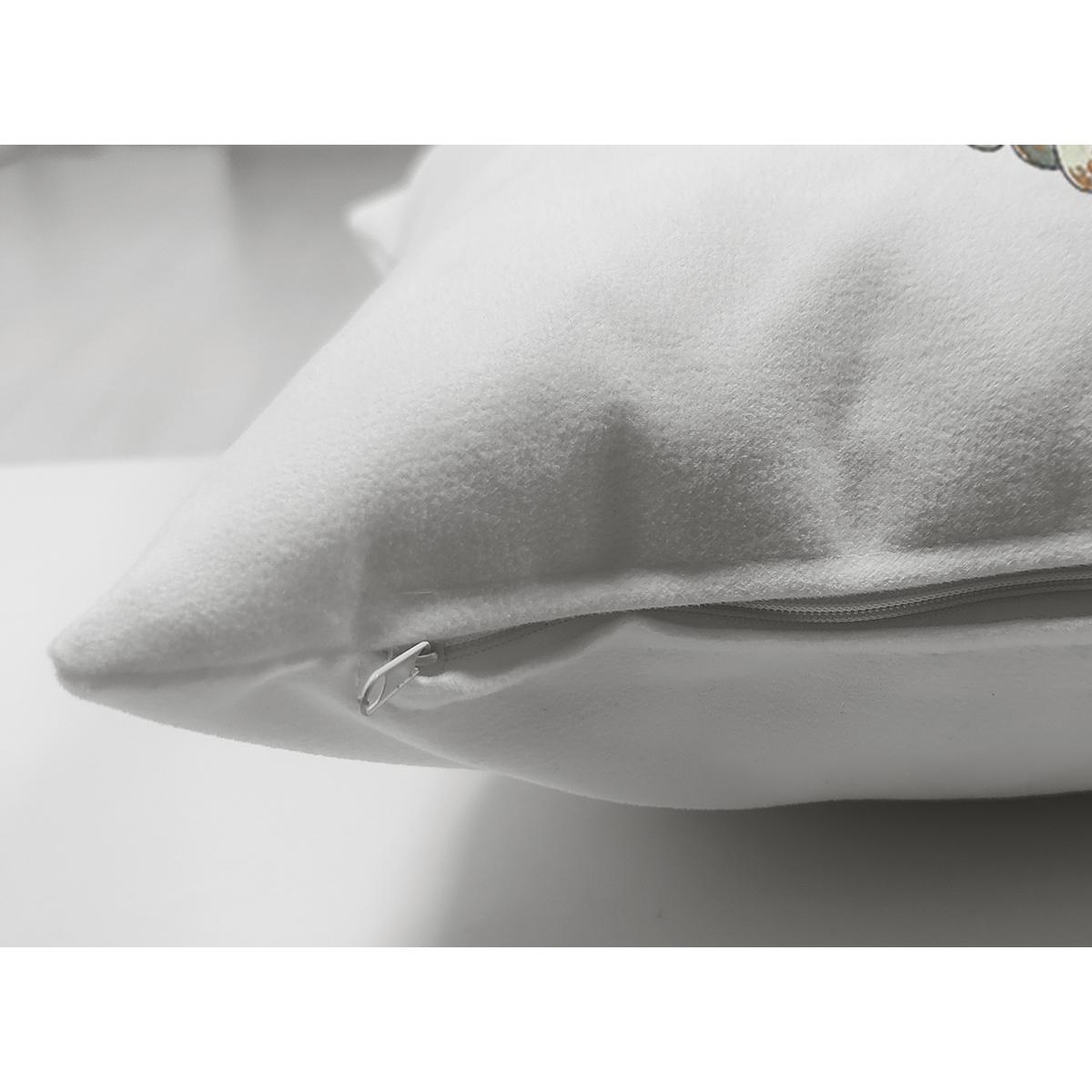 Çift Taraflı Beyaz Zeminli Balkabağı Desenli Dijital Baskılı Modern Süet Yastık Kırlent Kılıfı Realhomes