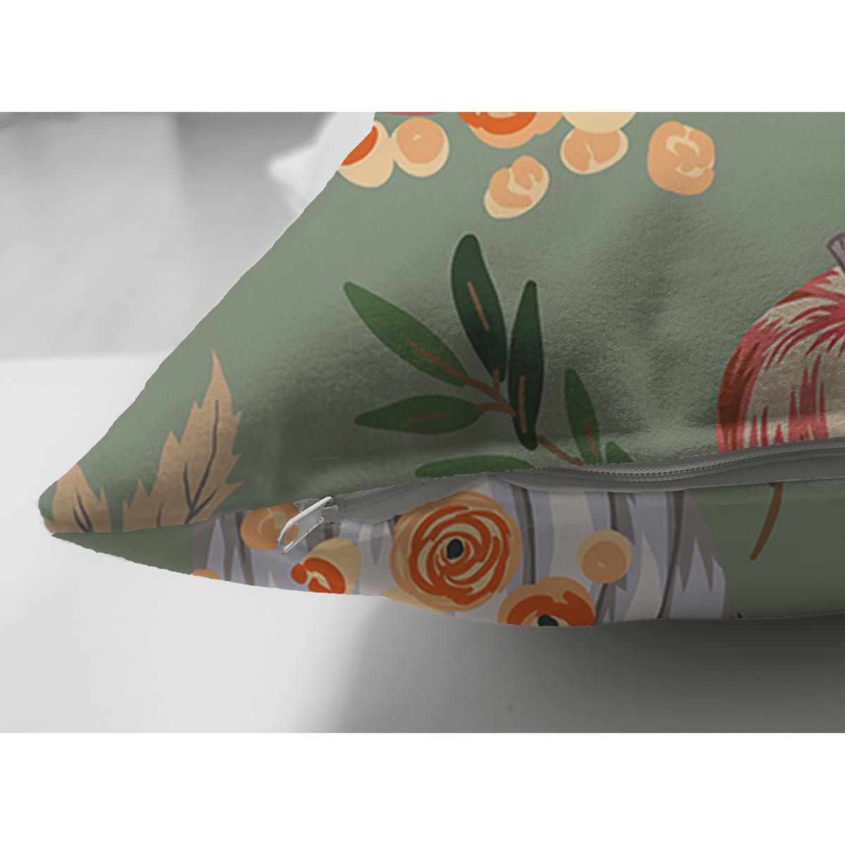 Çift Taraflı Renkli Zeminli Bal Kabağı Desenli Dijital Baskılı Modern Süet Yastık Kırlent Kılıfı Realhomes