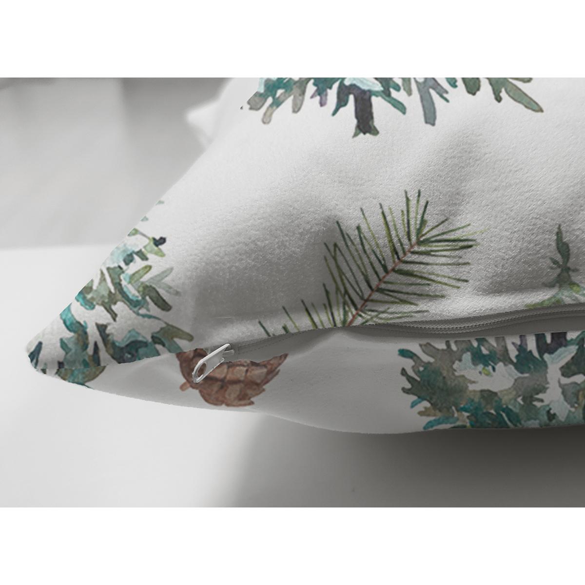 Çift Taraflı Beyaz Zemin Üzerinde Çamağacı Desenli Dijital Baskılı Modern Süet Yastık Kırlent Kılıfı Realhomes