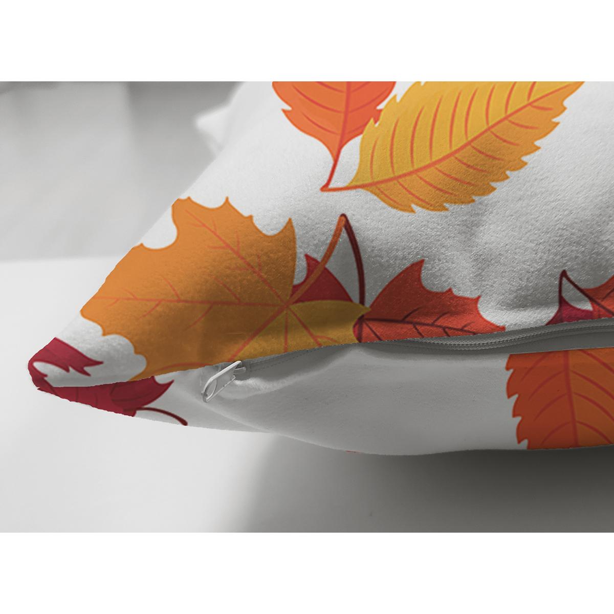 Çift Taraflı Beyaz Zemin Üzerinde Sonbahar Renkli Yaprak Desenli Süet Yastık Kırlent Kılıfı Realhomes