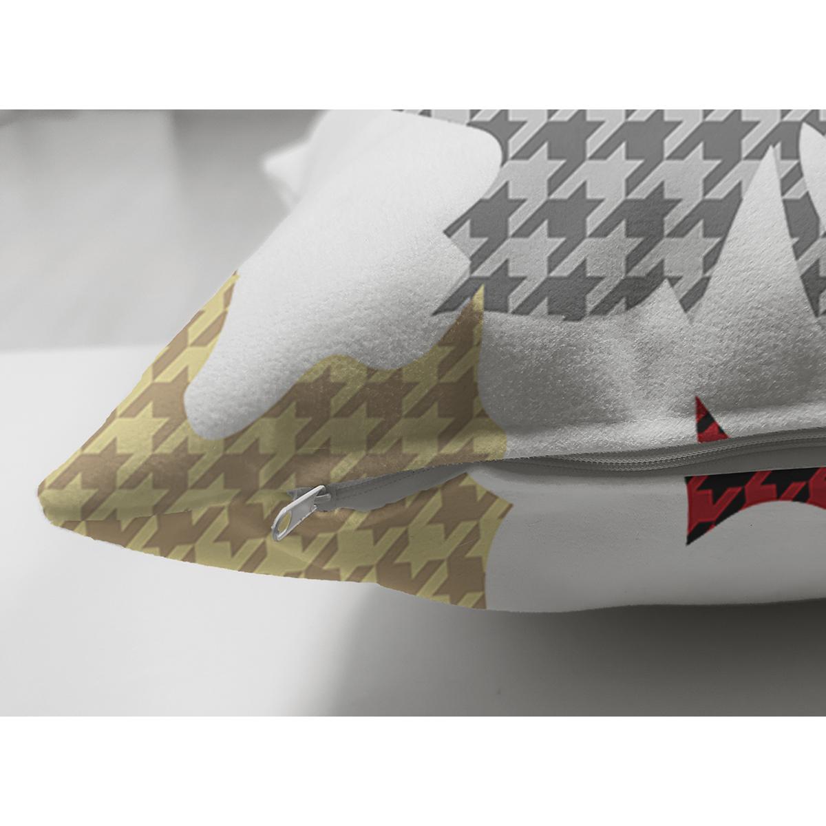 Çift Taraflı Beyaz Zeminli Ekoseli Yaprak Desenli Dijital Baskılı Modern Süet Yastık Kırlent Kılıfı Realhomes
