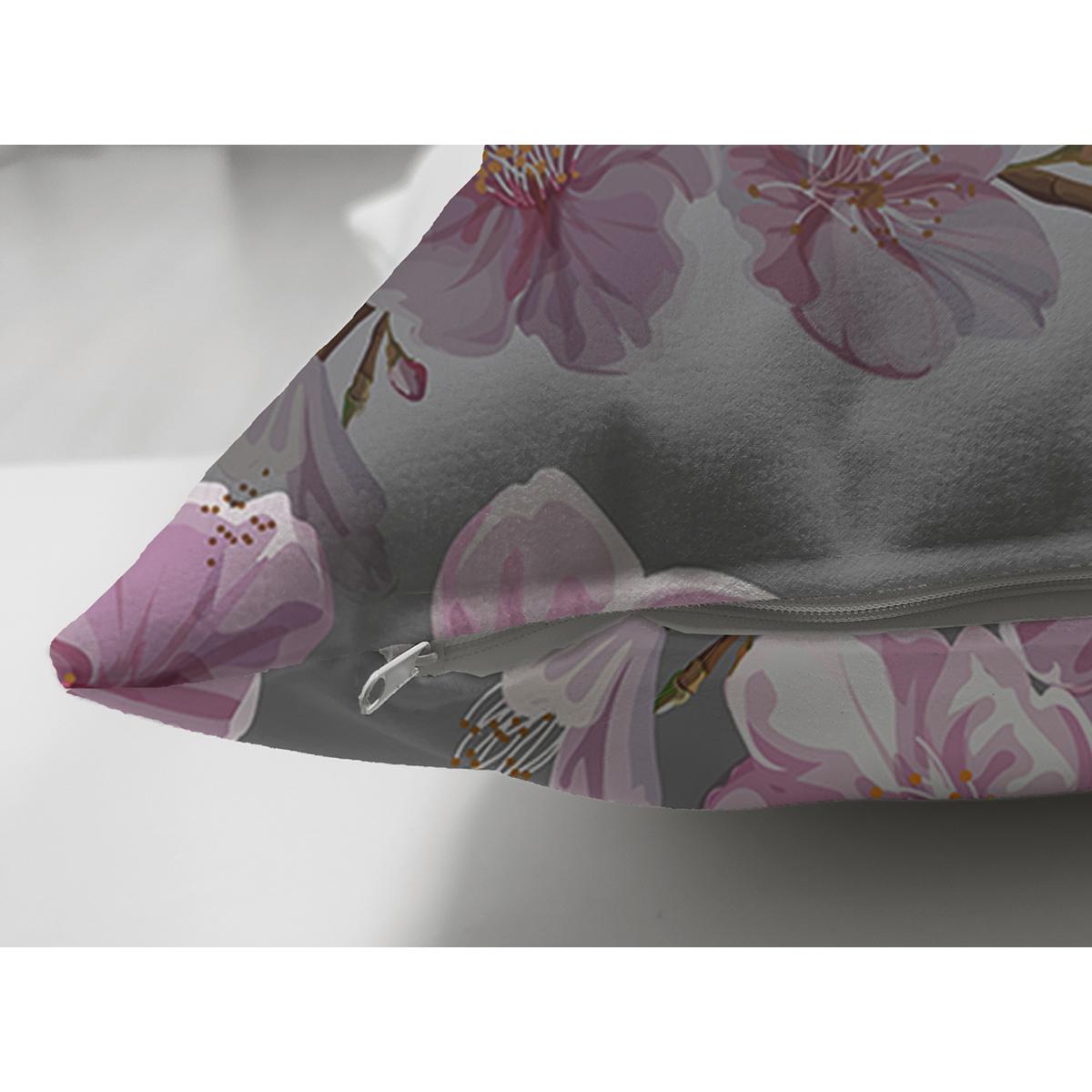 Çift Taraflı Renkli Zemin Üzerinde Çiçek Desenli Dijital Baskılı Modern Süet Yastık Kırlent Kılıfı Realhomes