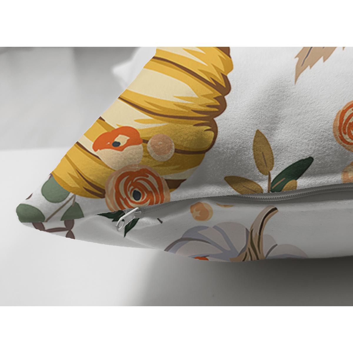 Çift Taraflı Beyaz Zeminli Bal Kabağı Desenli Dijital Baskılı Modern Süet Yastık Kırlent Kılıfı Realhomes