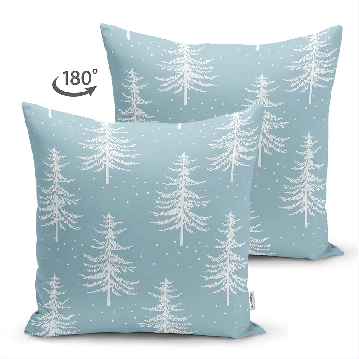 Çift Taraflı Renkli Zemin Üzerinde Beyaz Çam Ağacı Desenli Dijital Baskılı Modern Süet Yastık Kılıfı Realhomes
