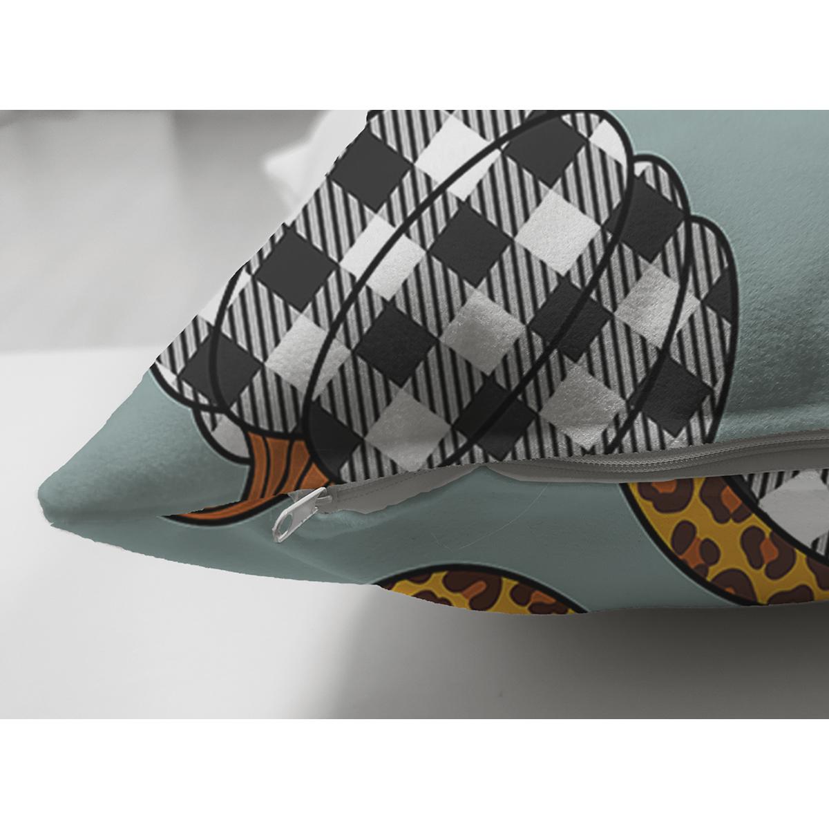 Çift Taraflı Pastel Zeminli Ekoseli Balkabağı Dijital Baskılı Modern Süet Yastık Kırlent Kılıfı Realhomes