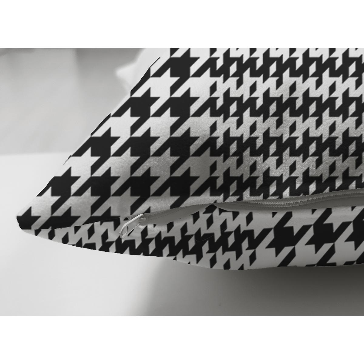 Çift Taraflı Beyaz Zeminli Siyah Zebra Desenli Dijital Baskılı Modern Süet Yastık Kırlent Kılıfı Realhomes