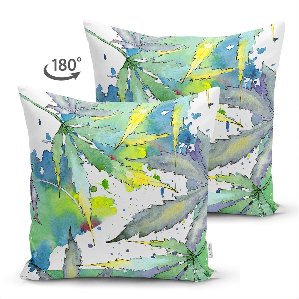 Çift Taraflı Beyaz Zeminli Renkli Yaprak Desenli Dijital Baskılı Modern Süet Yastık Kırlent Kılıfı Realhomes