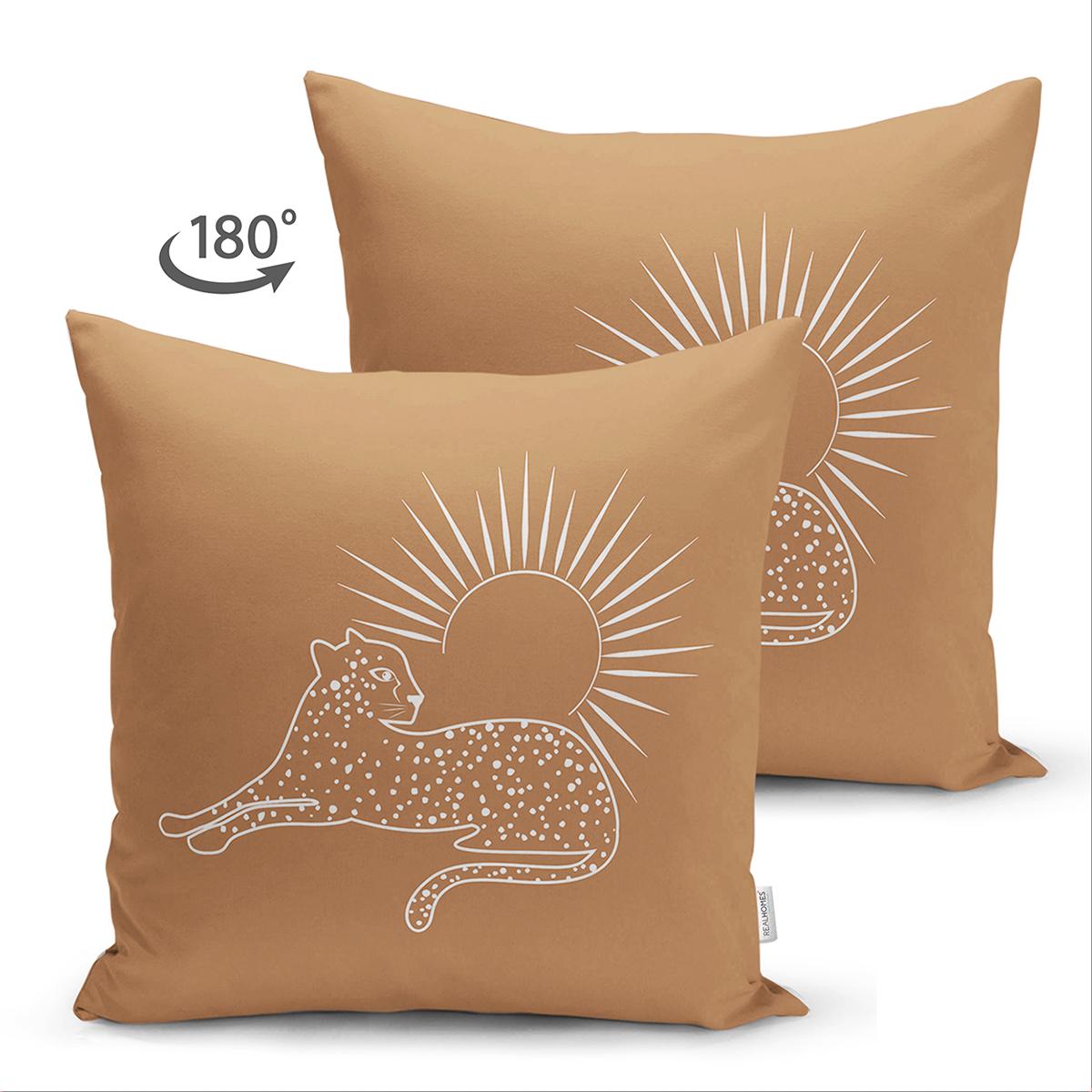 Çift Taraflı Pastel Zemin Üzerinde Onedraw Çizimli Güneş Desenli Süet Yastık Kırlent Kılıfı Realhomes