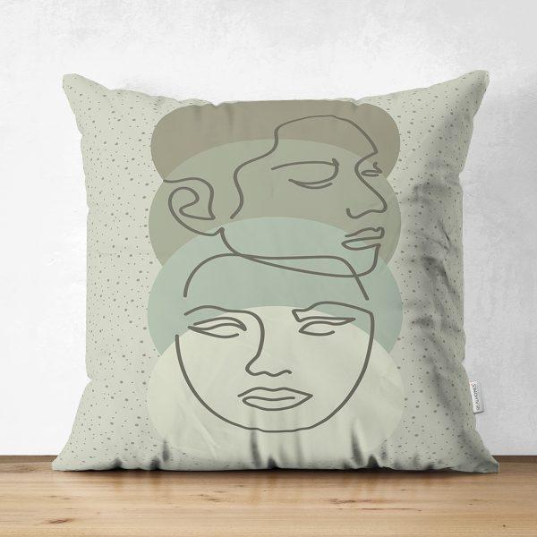 Çift Taraflı Renkli Zemin Üzerinde Onedraw Çizimli Bayan Silüeti Süet Yastık Kırlent Kılıfı Realhomes