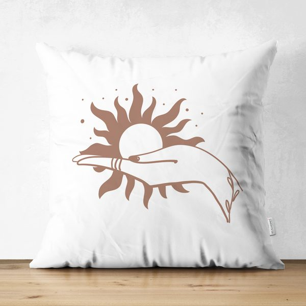 Çift Taraflı Beyaz Zemin Üzerinde Onedraw Çizimli Güneş Tutan El Desenli Süet Yastık Kırlent Kılıfı Realhomes