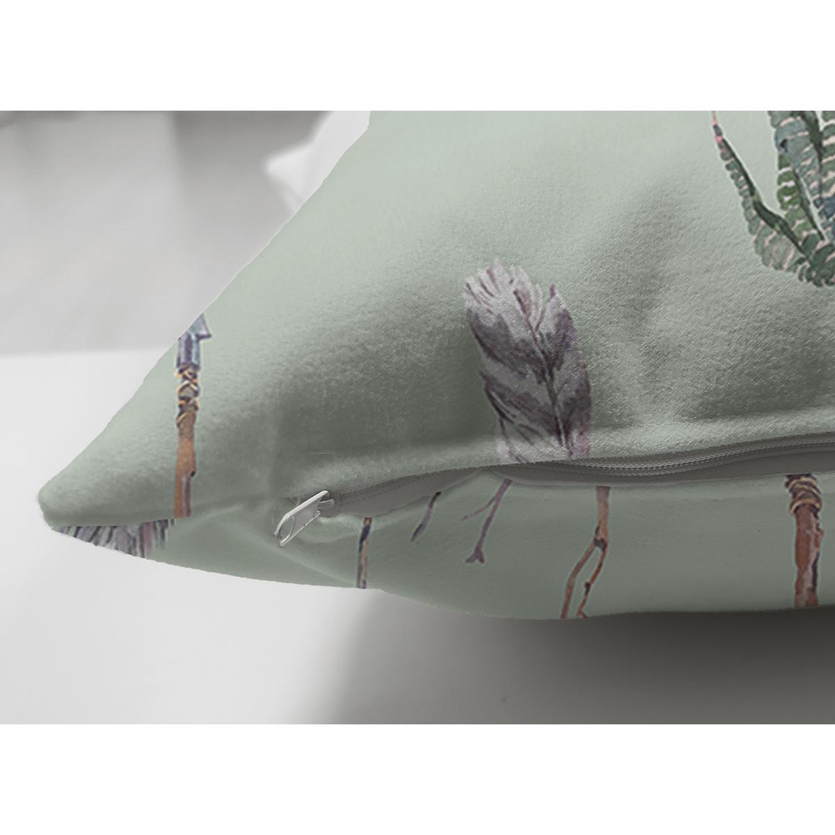 Çift Taraflı Renkli Zemin Üzerinde Kaktüs Desenli Dijital Baskılı Modern Süet Yastık Kırlent Kılıfı Realhomes
