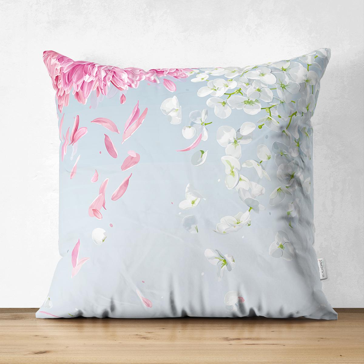 Çift Taraflı Pastel Zeminli Renkli Ortanca Çiçek Dijital Baskılı Modern Süet Yastık Kırlent Kılıfı Realhomes
