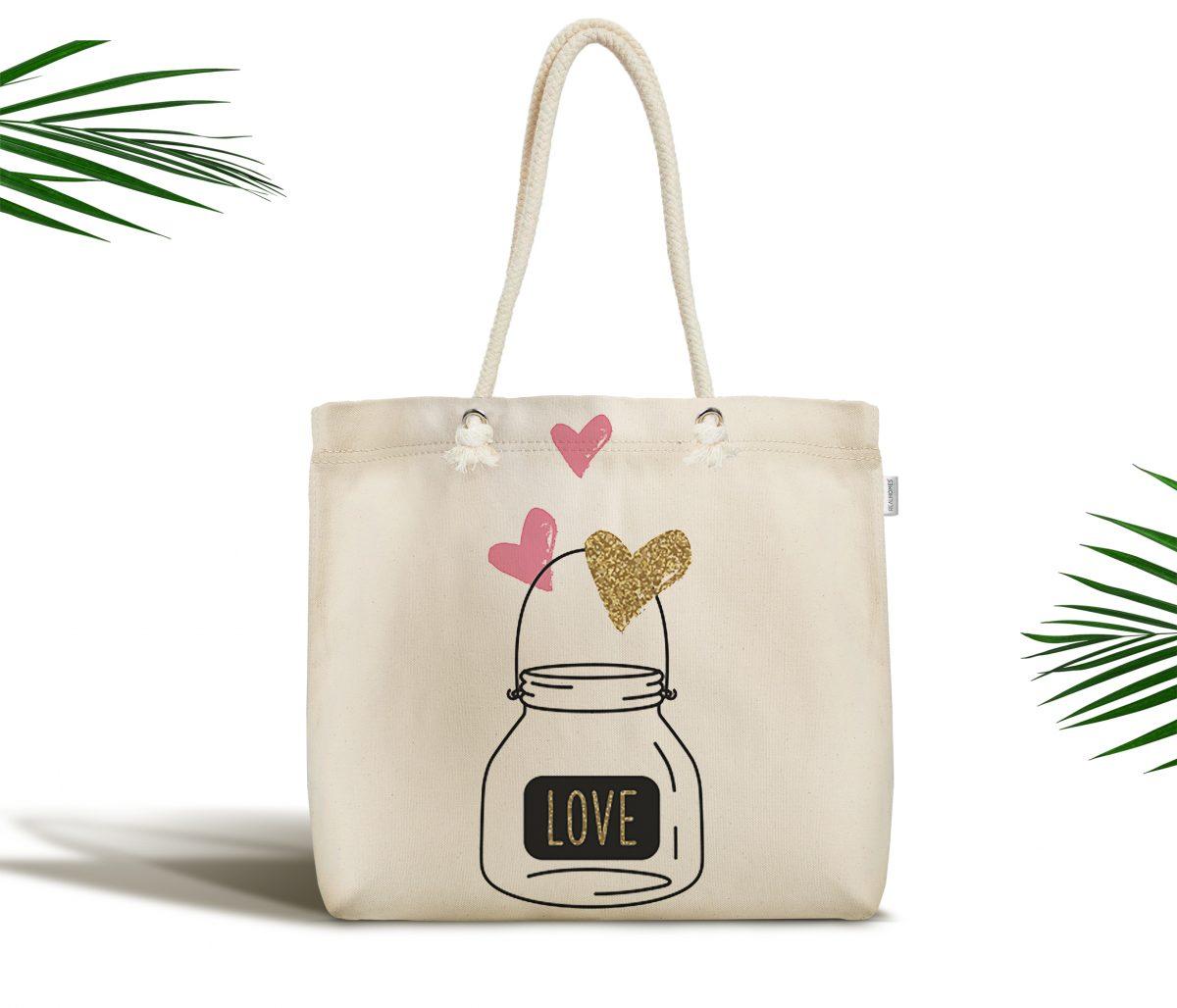 Krem Temalı Love Yazılı Dijital Baskılı Fermuarlı Kumaş Çanta Realhomes