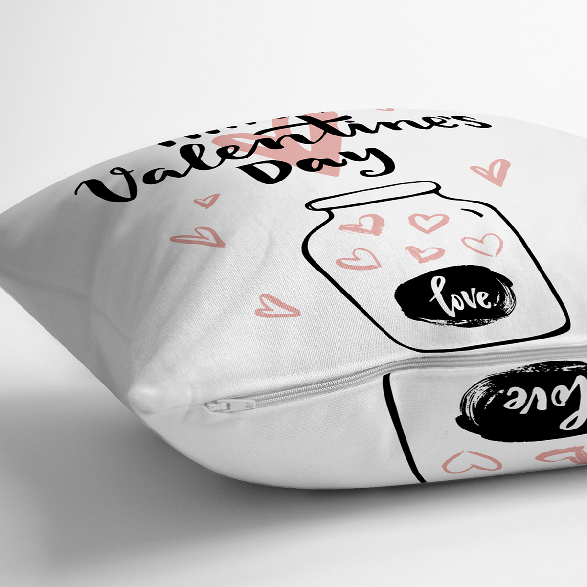 Çift Taraflı Sevgililer Günü Temalı Özel Tasarım Dijital Baskılı Modern Süet Yastık Kırlent Kılıfı Realhomes