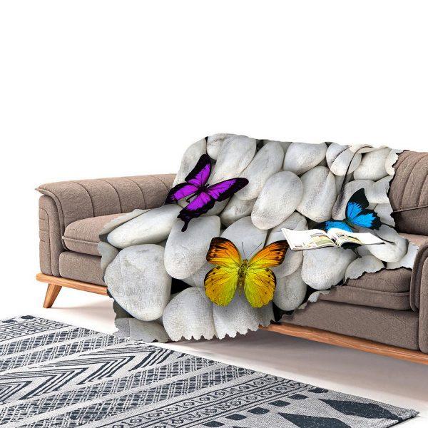 Realhomes Kelebek Desenli Dijital Baskılı Modern Şönil Koltuk Örtüsü Realhomes
