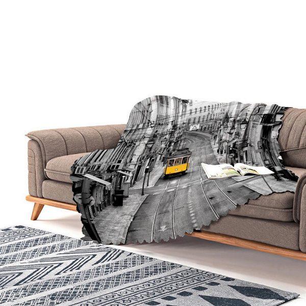 Realhomes Özel Tasarım Dijital Baskılı Modern Şönil Koltuk Şalı Realhomes