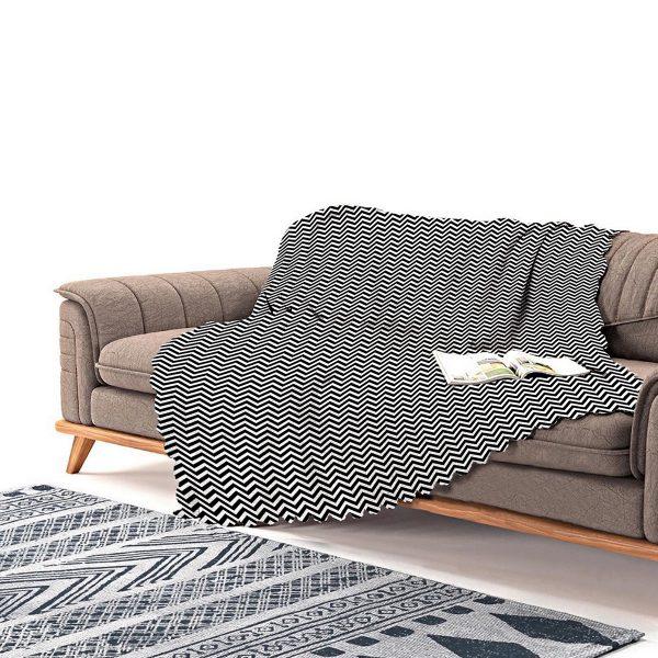 Realhomes Siyah Beyaz Zigzag Desenli Dijital Baskılı Şönil Koltuk Şalı Realhomes