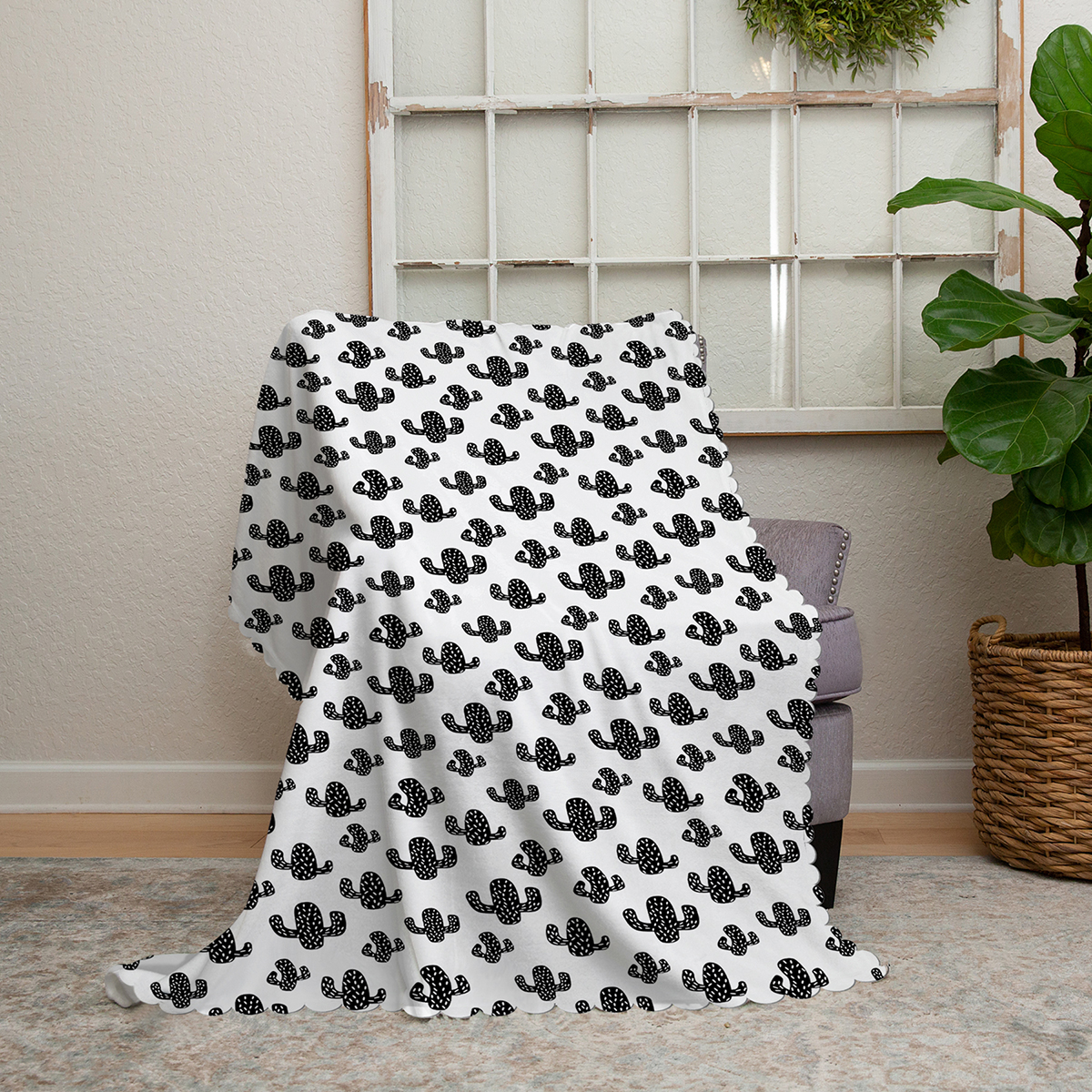 Realhomes Siyah Beyaz Kaktüs Desenli Modern Şönil Koltuk Örtüsü Realhomes