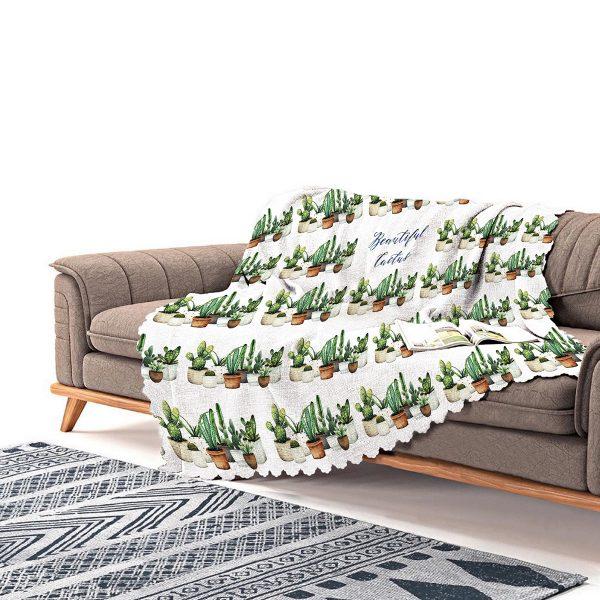 Realhomes Beatiful Cactus Baskılı Dijital Baskılı Şönil Koltuk Şalı Realhomes