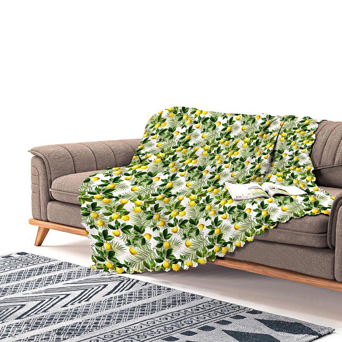 Realhomes Limon Yaprakları Desenli Dijital Baskılı Şönil Koltuk Örtüsü Realhomes