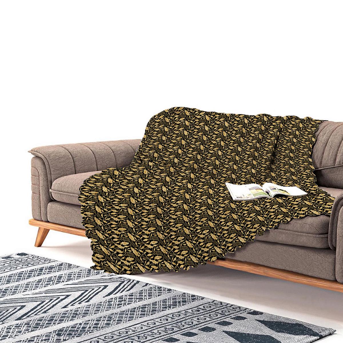 Realhomes Siyah Zeminli Altın Yapraklar Motifli Modern Şönil Koltuk Örtüsü Realhomes