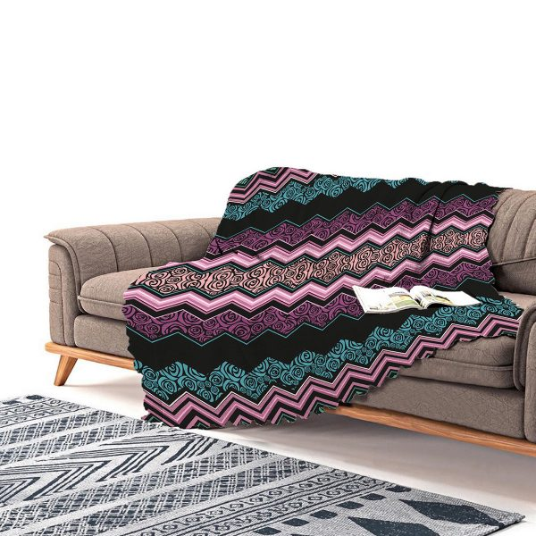 Realhomes Renkli Zigzag Dijital Baskılı Modern Şönil Koltuk Örtüsü Realhomes