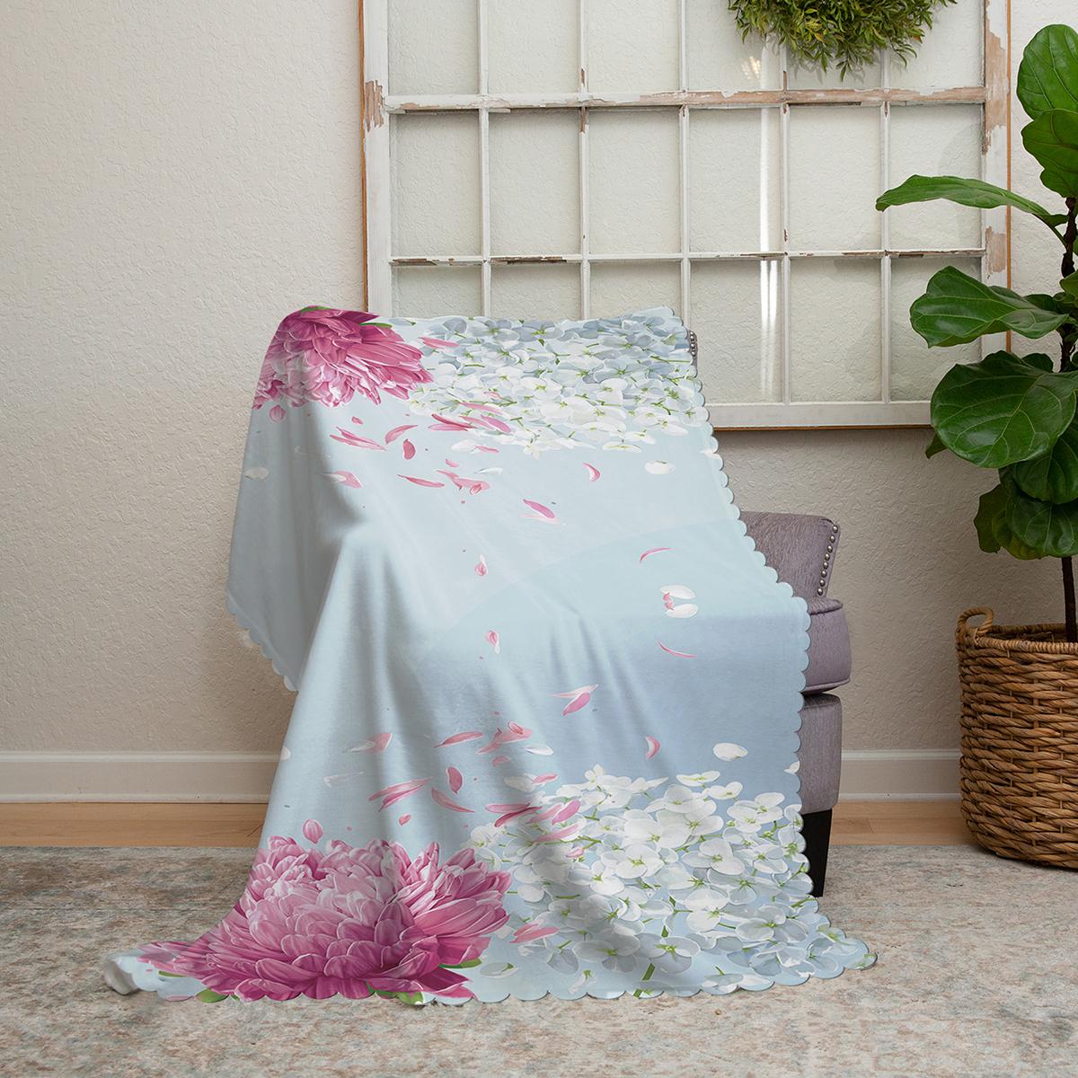 Realhomes Mavi Zeminde Fuşya Beyaz Ortanca Çiçeği Baskılı Şönil Koltuk Şalı Realhomes