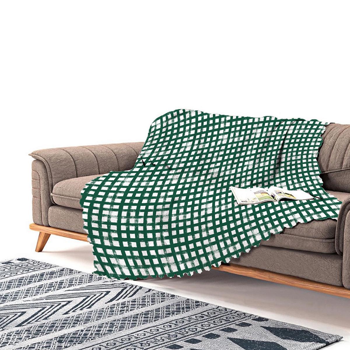 Realhomes Koyu Yeşil Geometrik Kare Motifli Modern Şönil Koltuk Örtüsü Realhomes