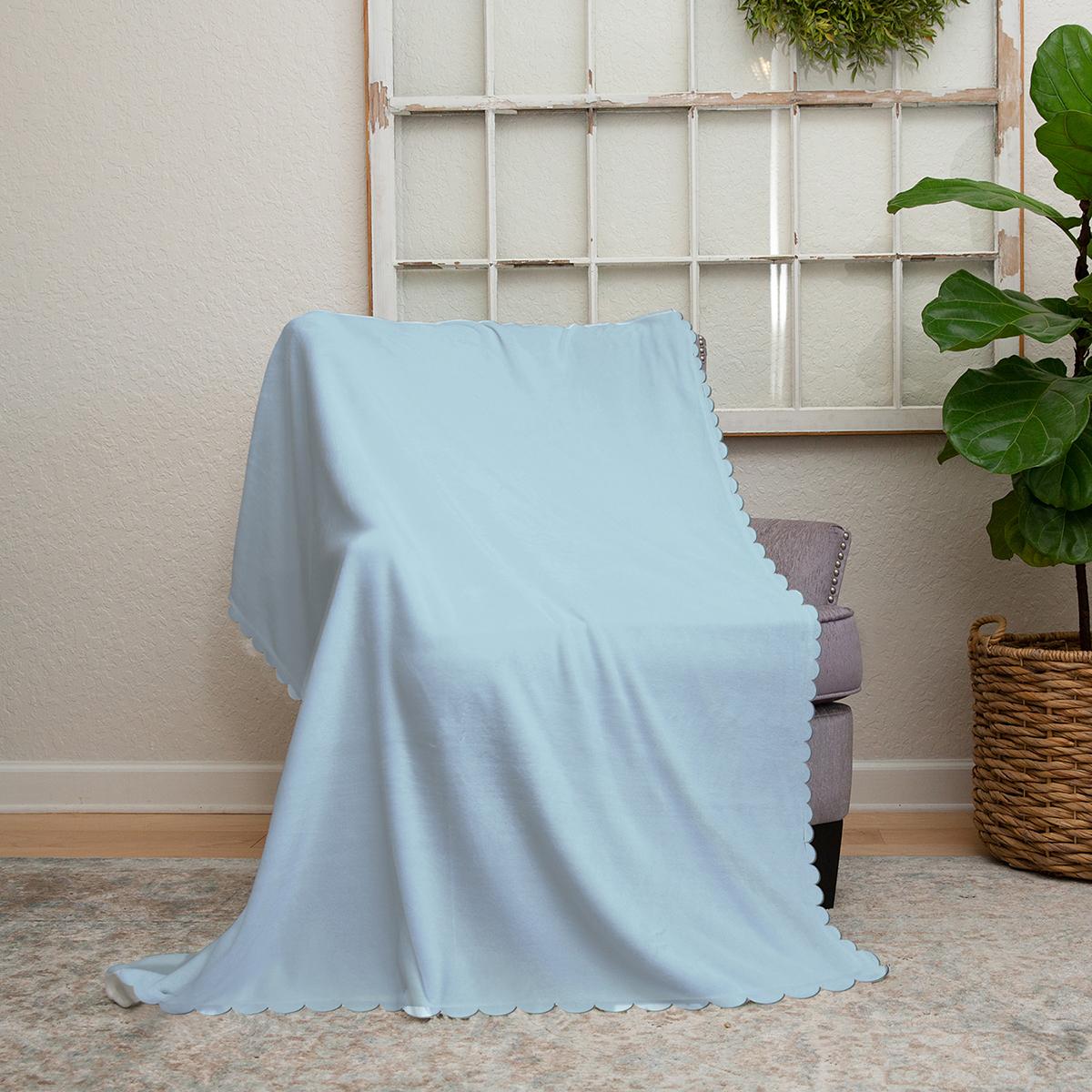 Realhomes Bebek Mavi Dijital Baskılı Modern Şönil Koltuk Örtüsü Realhomes