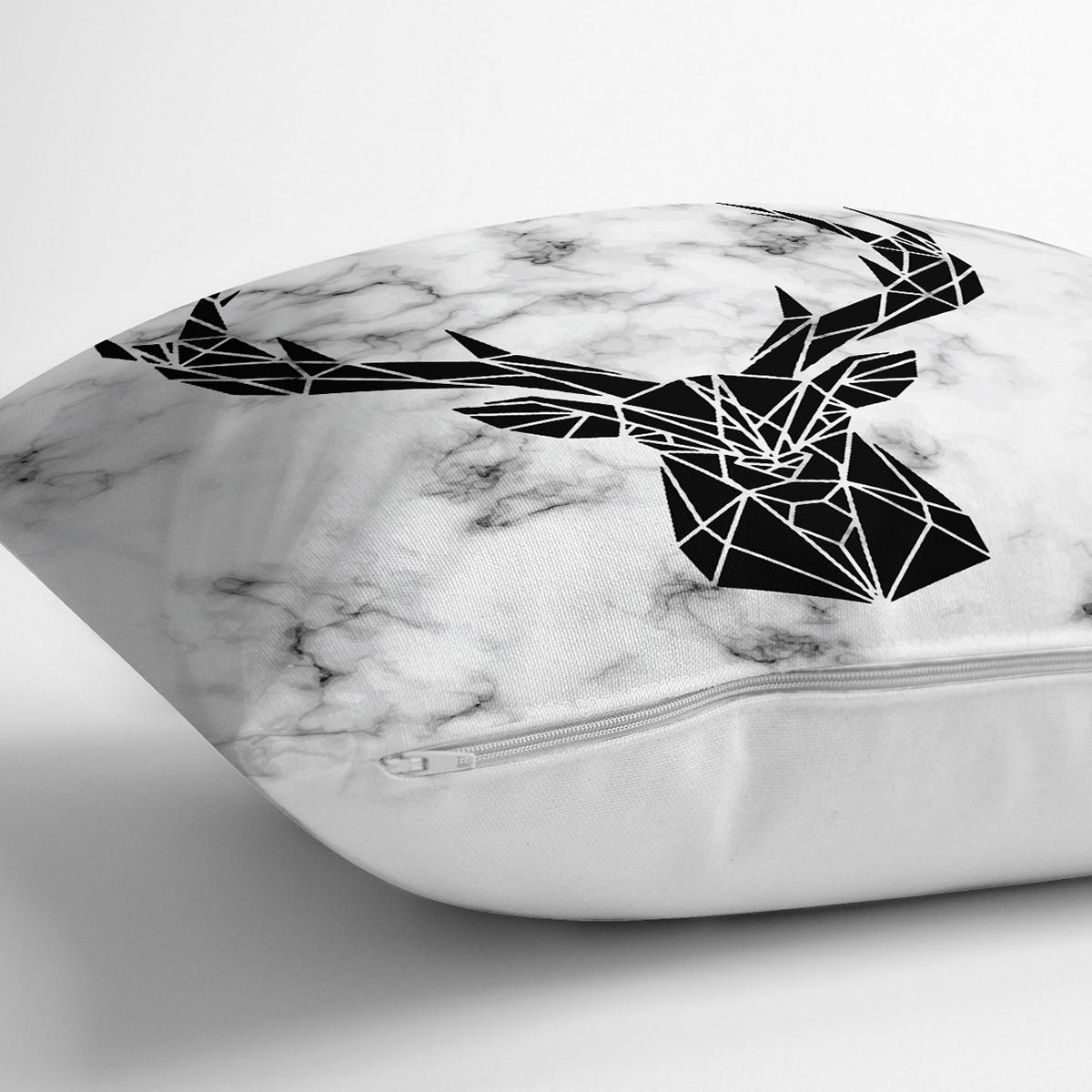 Mermer Zeminde Geyik Motifli Özel Tasarım Modern Yastık Kırlent Kılıfı Realhomes